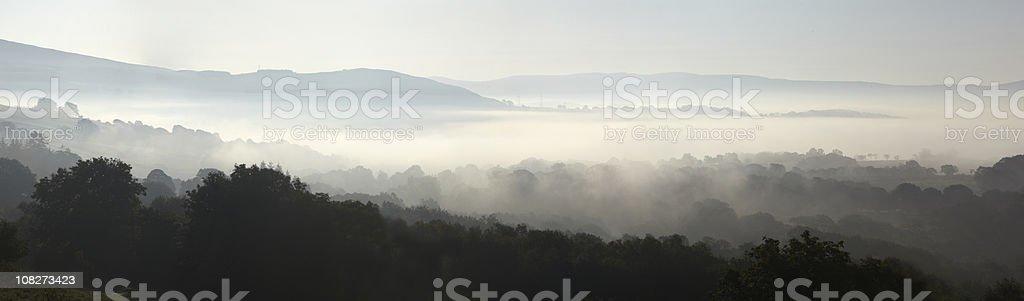 Misty Morning Sunrise over Bala, North Wales, British scenic panorama royalty-free stock photo