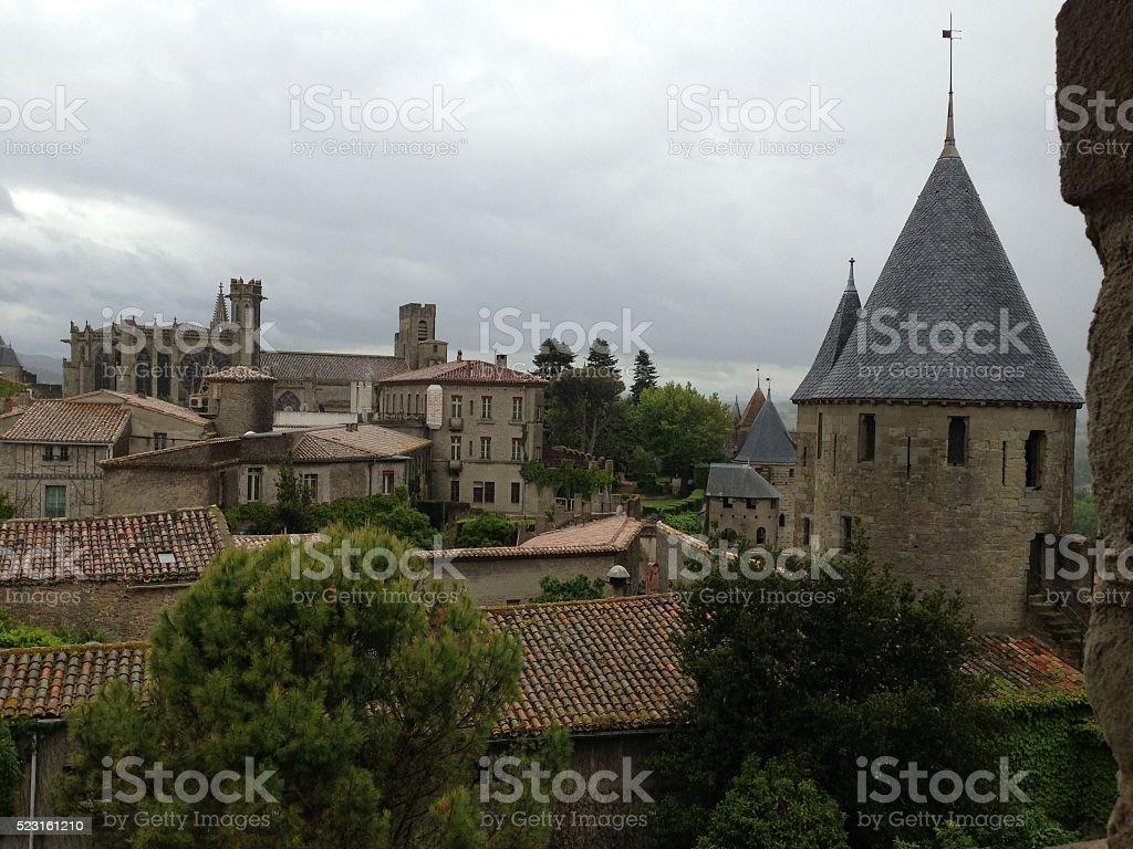 Misty Morning view of La Cite de Carcassonne stock photo