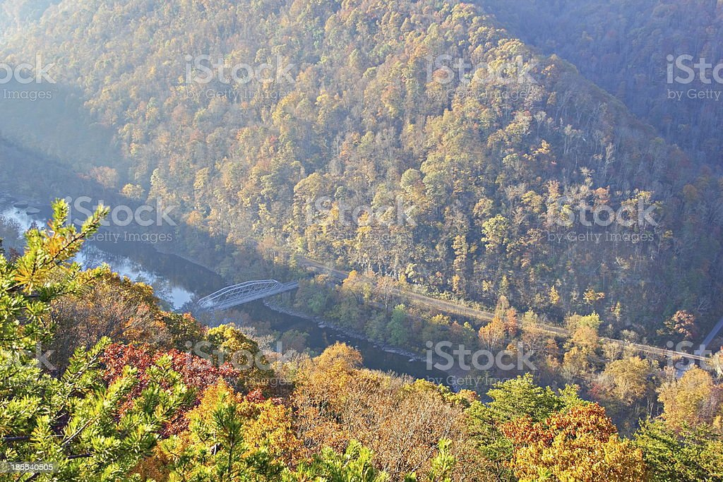 Misty morning view through the fog at New River Gorge stock photo