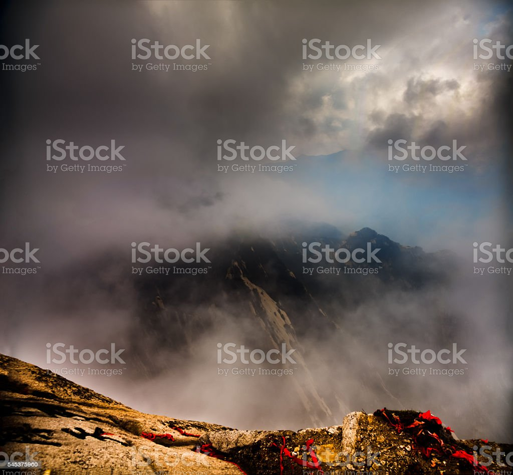 Misty Mount Hua, Shaanxi province, China stock photo
