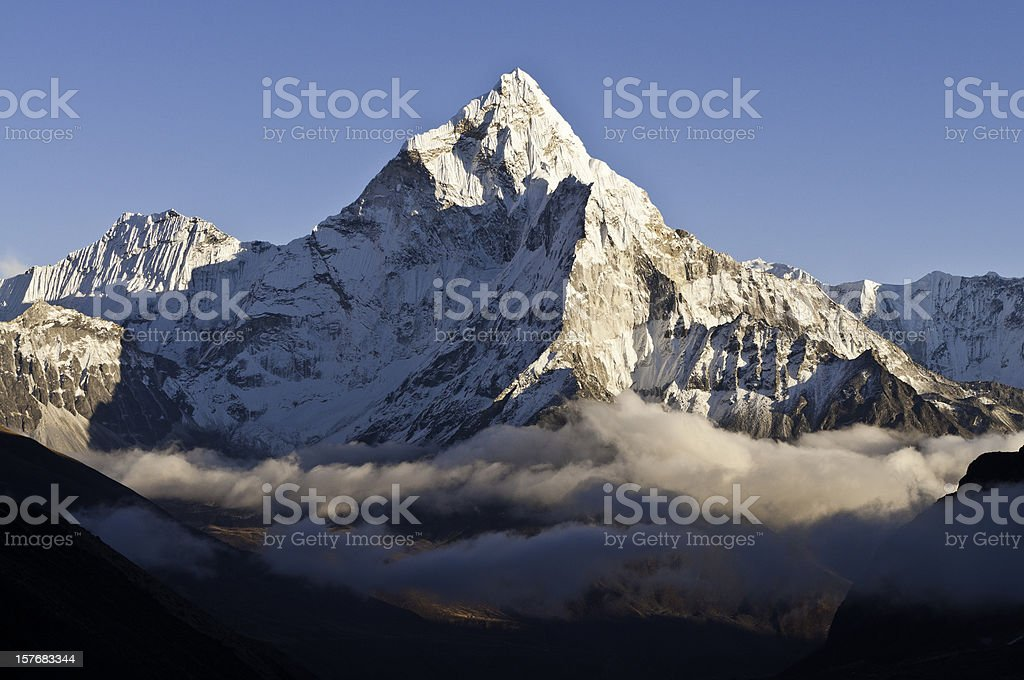 Misty mountain high glorious snow capped pinnacle Himalayas Nepal royalty-free stock photo