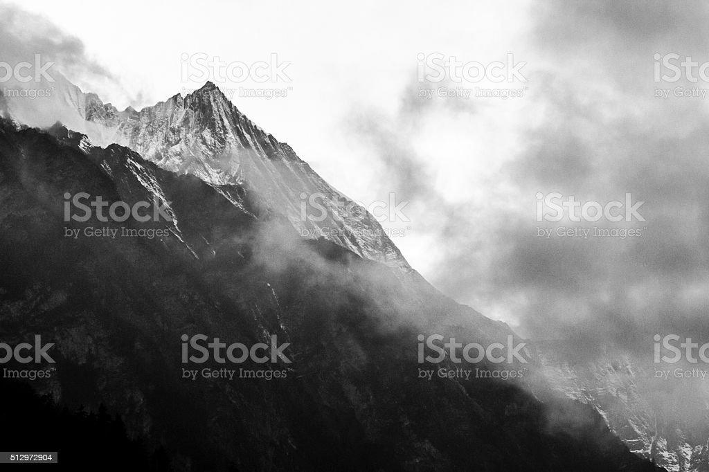 Misty mountain. Himalayas, Nepal stock photo