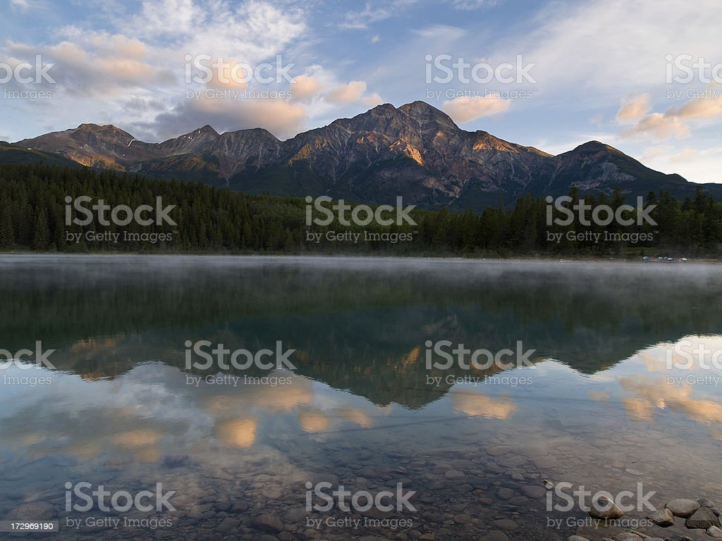 Misty Mountain Lake stock photo