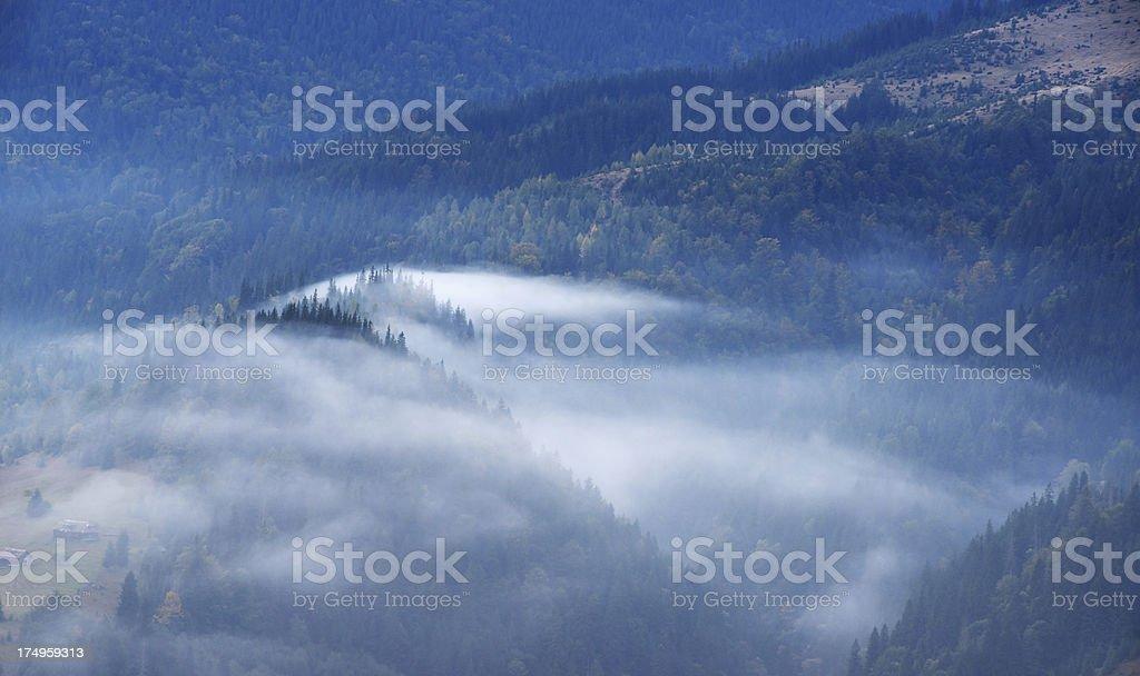 Misty mountain landscape in blue twilight royalty-free stock photo