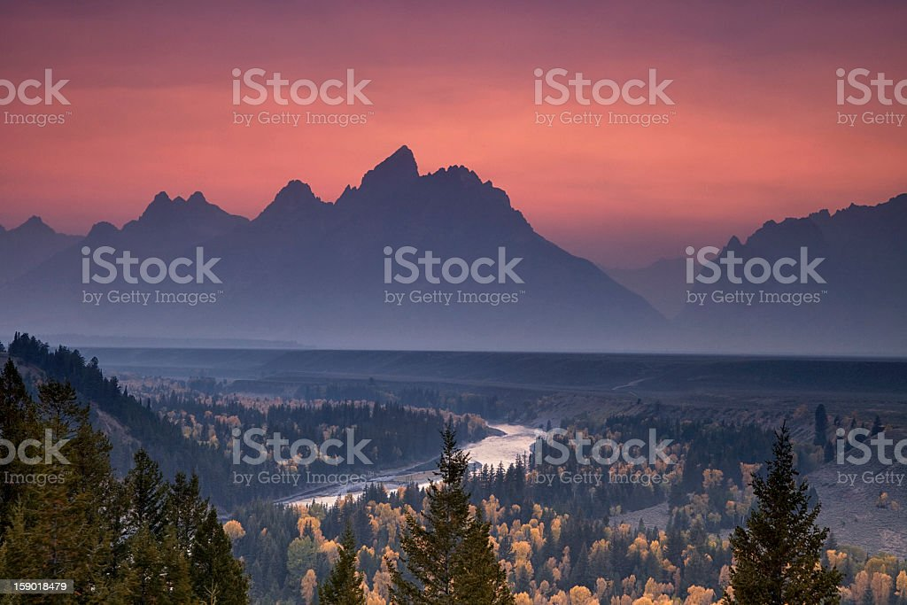 Misty Mountain Sunset stock photo