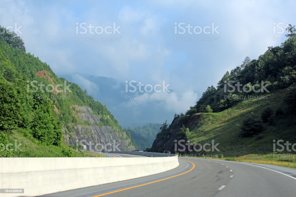 Misty Mountain View from the Road royalty-free stock photo