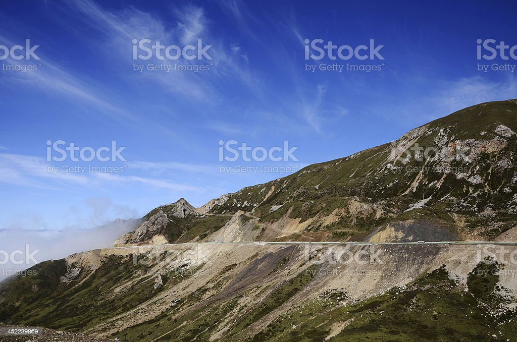 Misty mountains and blue sky royalty-free stock photo