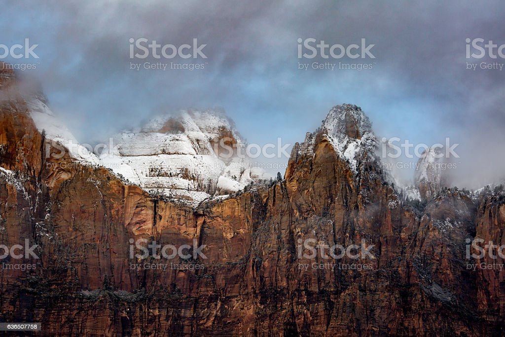 Misty mountains in Zion National Park stock photo
