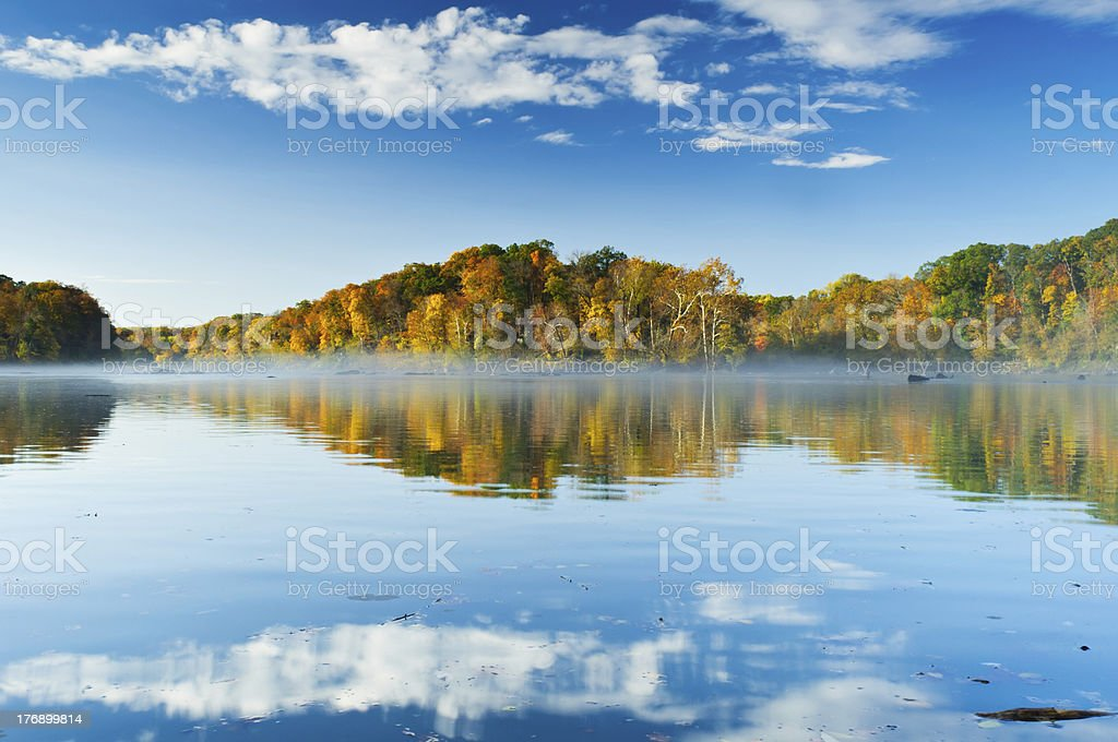 Misty Potomac River With Mirrored View stock photo