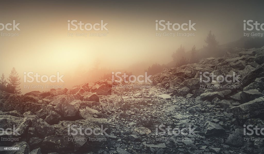 Misty road in mountains stock photo