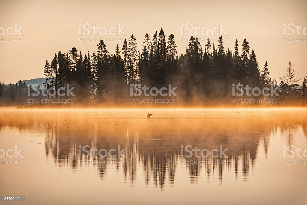 Misty Sunrise at Lake in Algonquin Provincial Park Ontario Canada stock photo