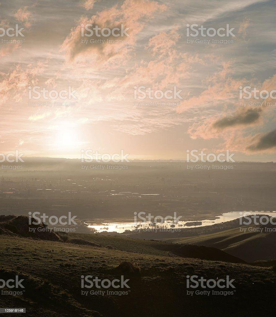 misty sunrise on lake royalty-free stock photo
