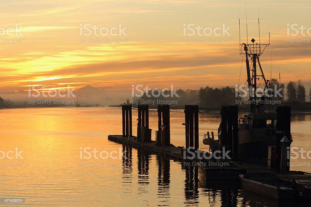 Misty Sunrise, Steveston Dock stock photo