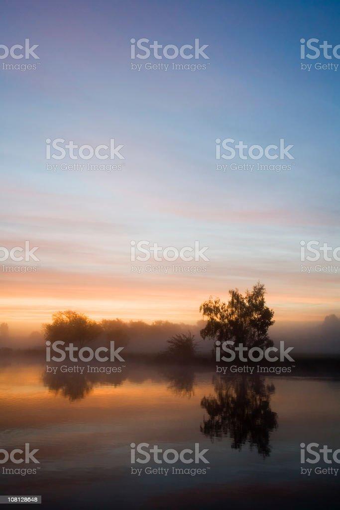 Misty Thames at Sunrise stock photo