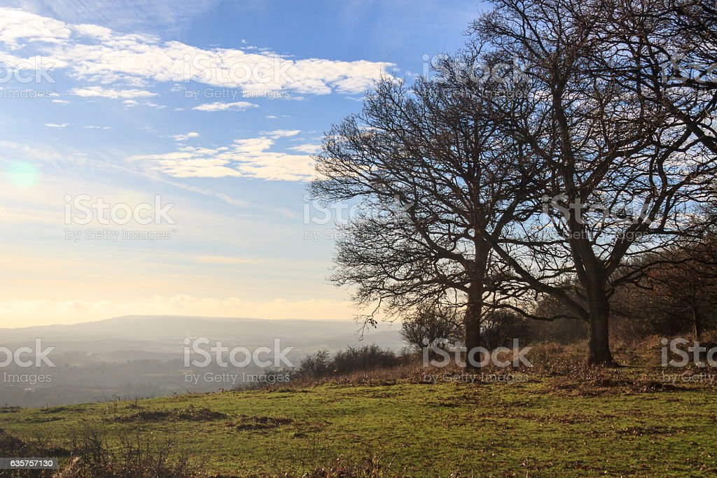 Misty view from Colley Hill, Surrey stock photo