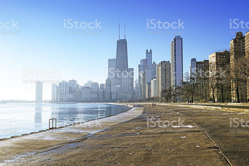 Misty winter morning, Chicago lakefront stock photo