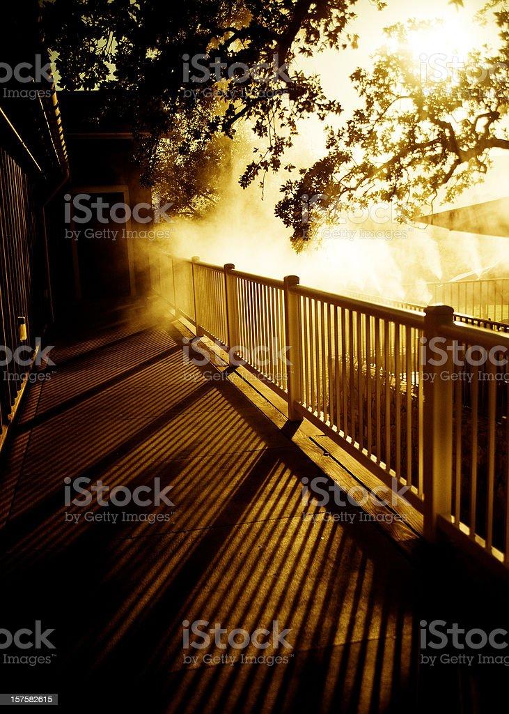 misty wooden balcony deck stock photo