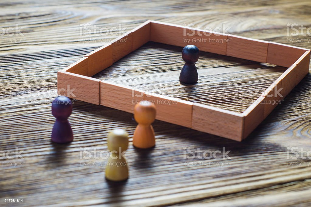 Misunderstanding, a barrier in relations, denial of society. stock photo