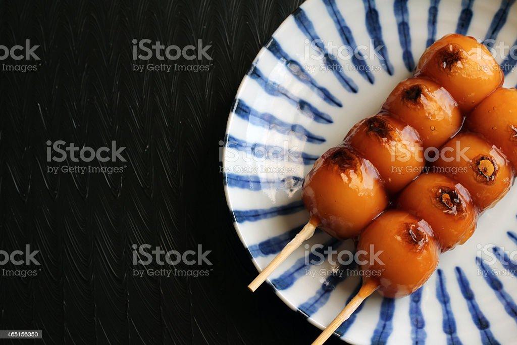 Mitarashi dango stock photo