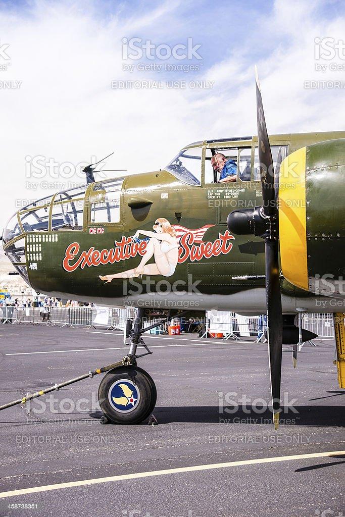 B-25 Mitchell Bomber on the Tarmac royalty-free stock photo