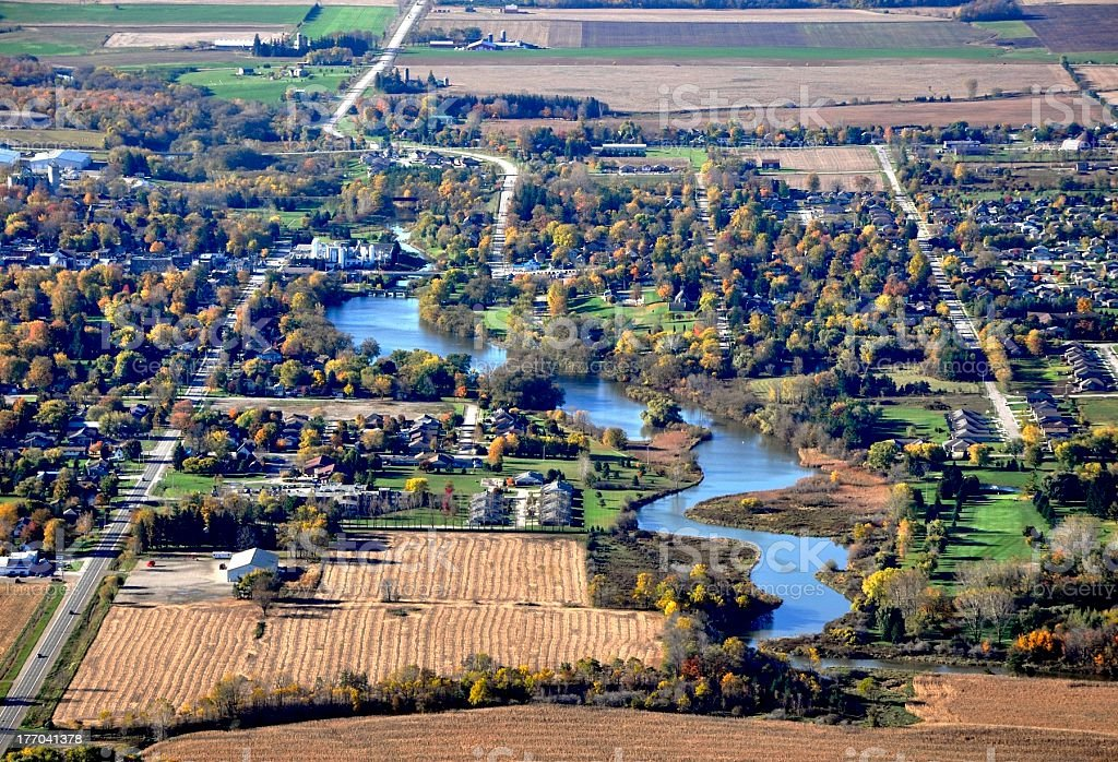 Mitchell, ON aerial stock photo