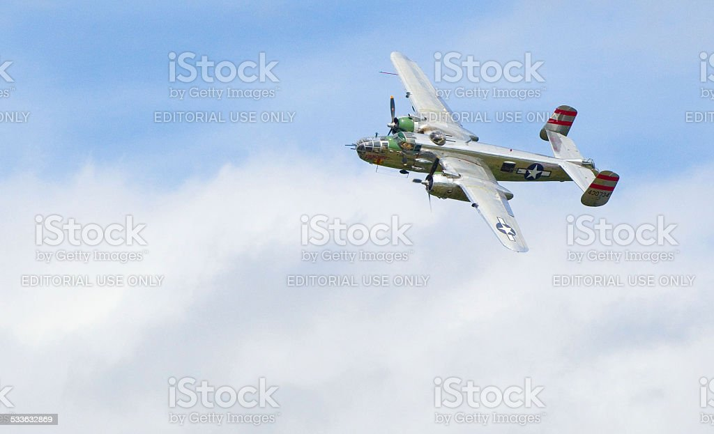 B 25 Mitchell 'Panchito' WWII  Medium Bomber Replica  Fly By stock photo