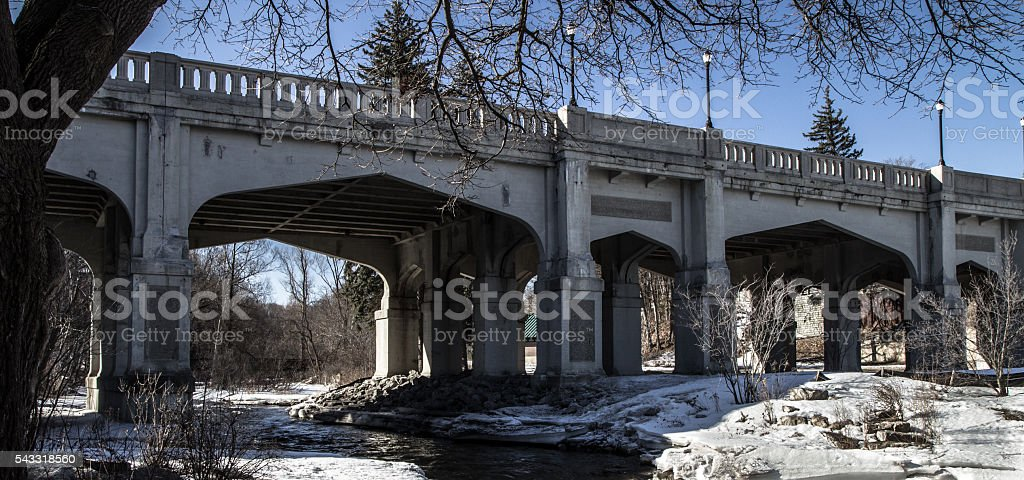 Mitchell Street Bridge In Petoskey Michigan stock photo