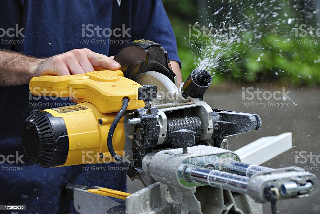 Miter Saw - Remodeling Project royalty-free stock photo