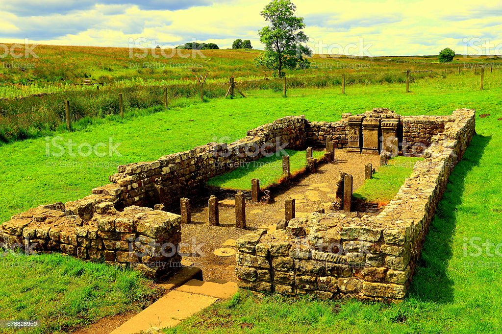 Mithraic Temple at Hadrian's Wall, England stock photo