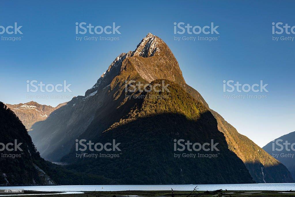 Mitre Peak Milford sound New Zealand stock photo