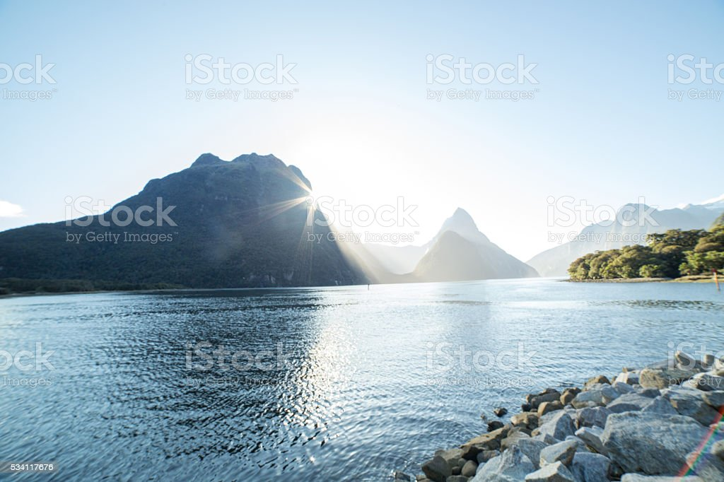 Mitre Peak, Milford Sound, New Zealand stock photo