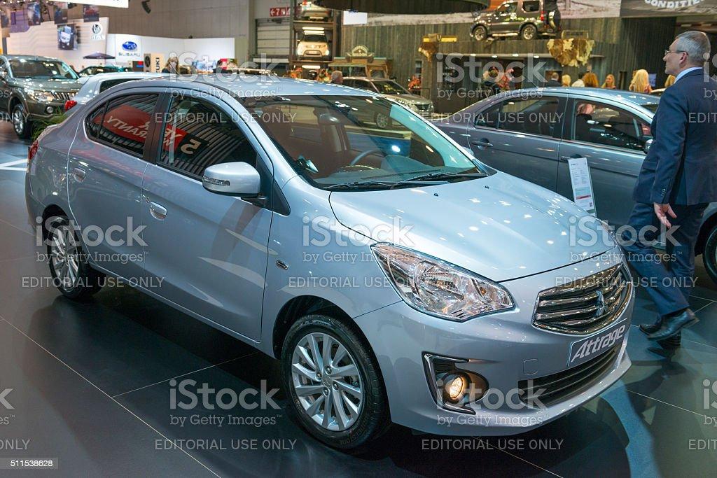 Mitsubishi Attrage sedan stock photo