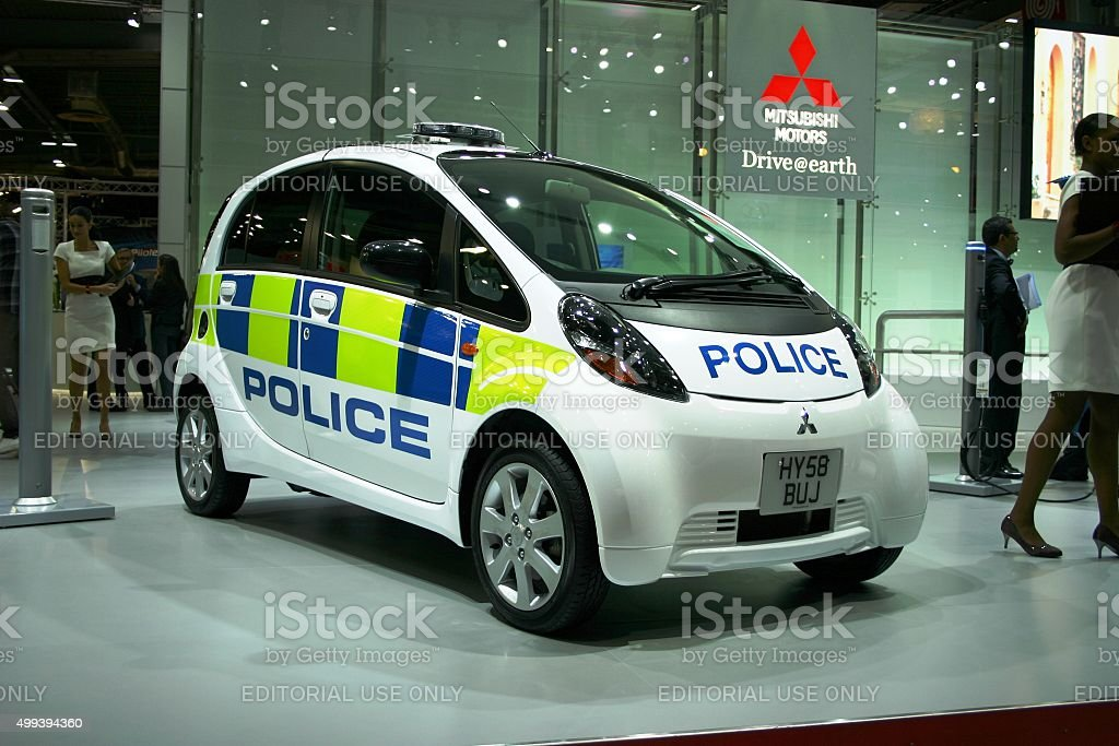 Mitsubishi I-Miev in police version on the motor show stock photo