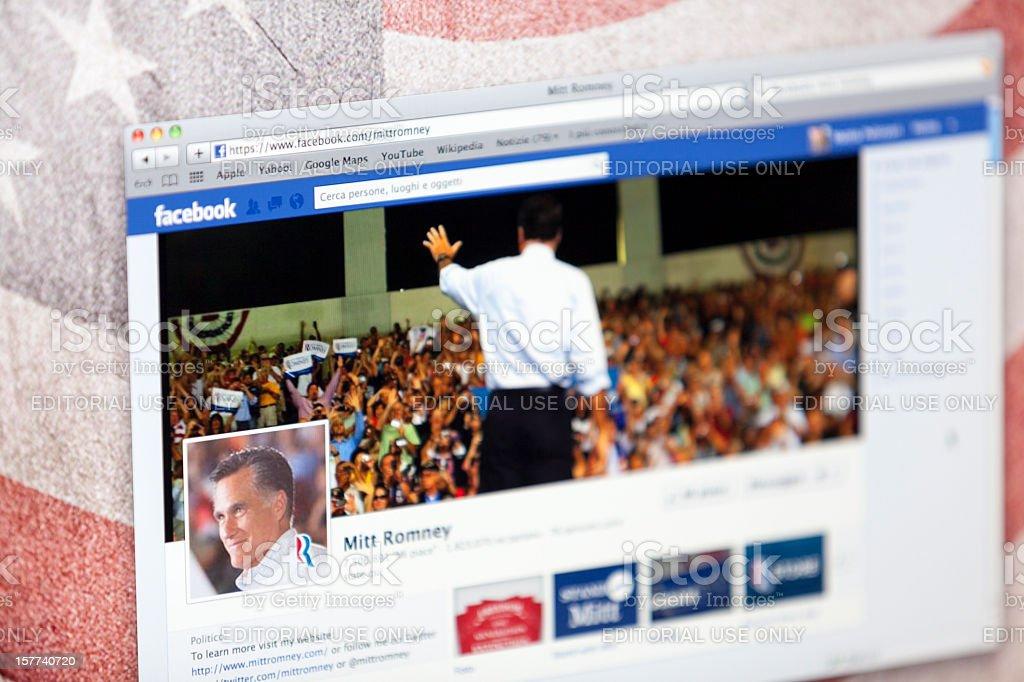Mitt Romney Facebook Fan Page stock photo