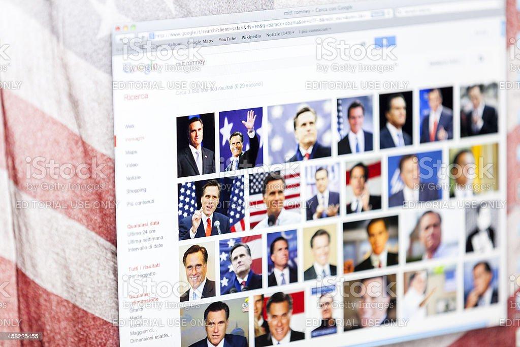 Mitt Romney Portraits on Google Images stock photo