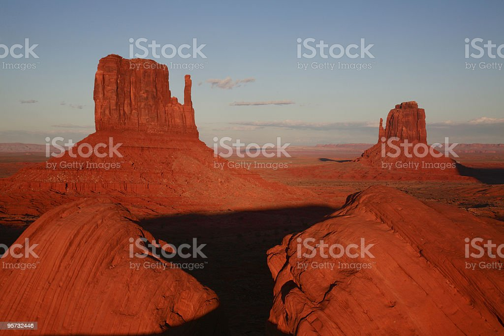 Mittens at sunset, Monument Valley royalty-free stock photo