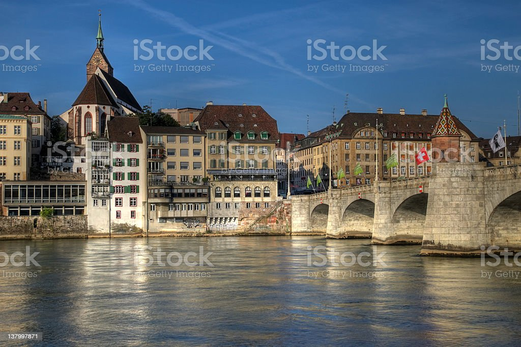 Mittlere Bridge and Basel waterfront, Switzerland royalty-free stock photo