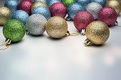 Mix Christmas balls on a light.