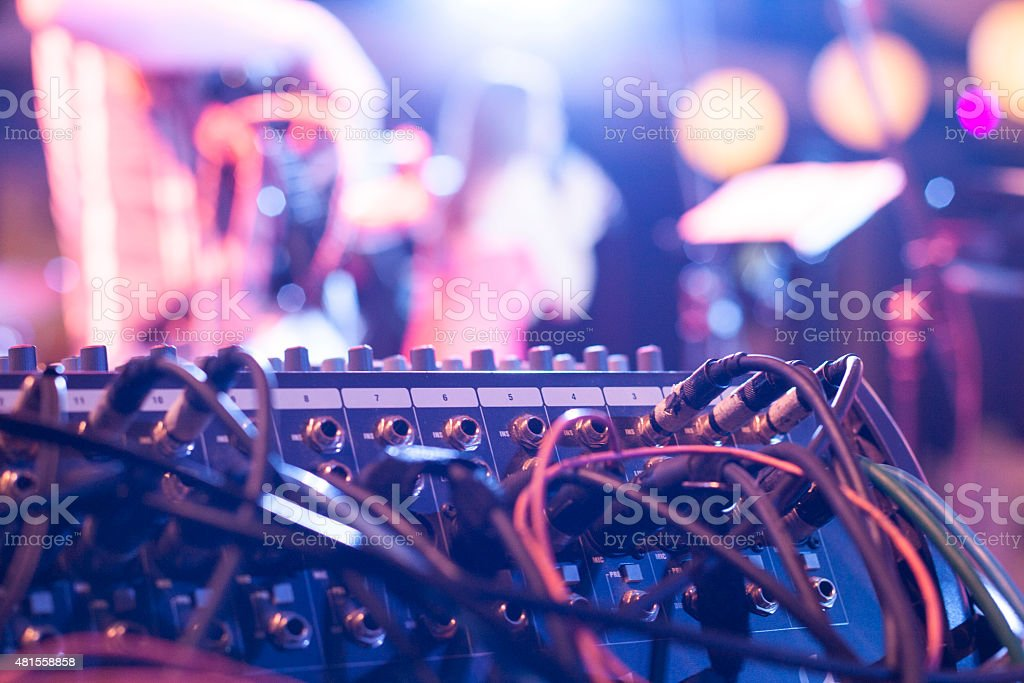 Mix console on the concert stock photo