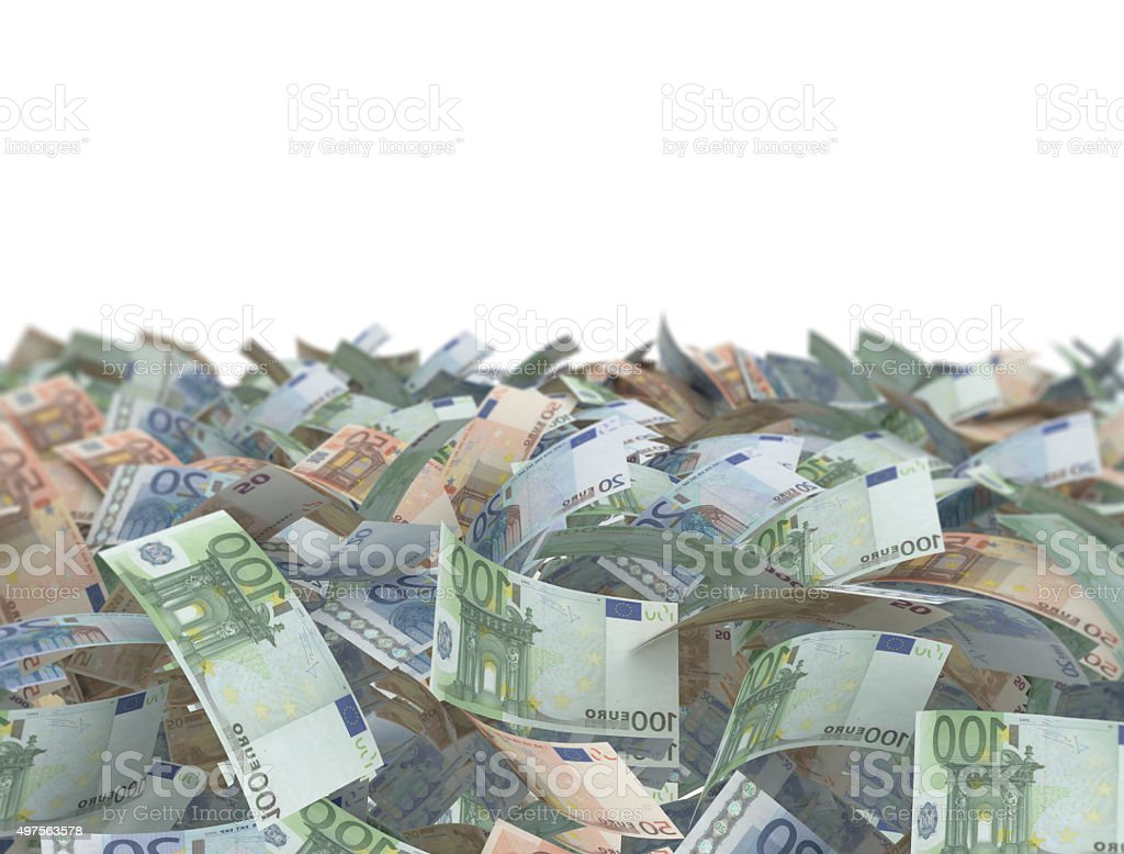 mix euro banknotes on white background stock photo