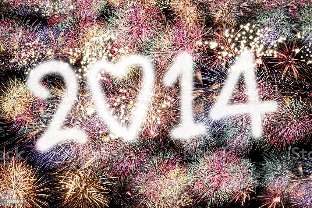 Mix Fireworks in text of Two thousand and fourteen. stock photo