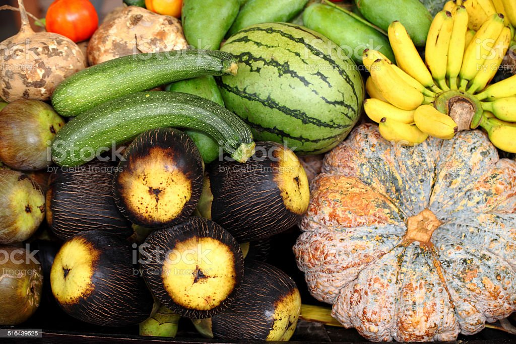 Mix fruit and vegetables stock photo
