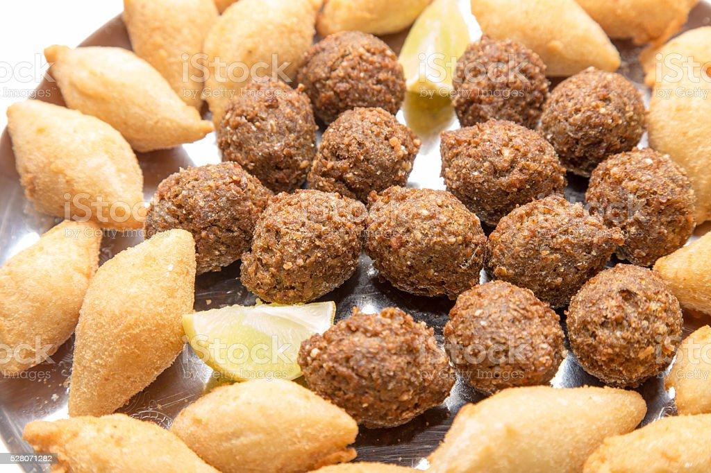 Mix of brazilian fried snacks stock photo