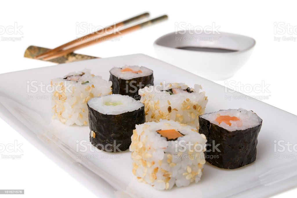 Mix of california rolls and makizushi royalty-free stock photo