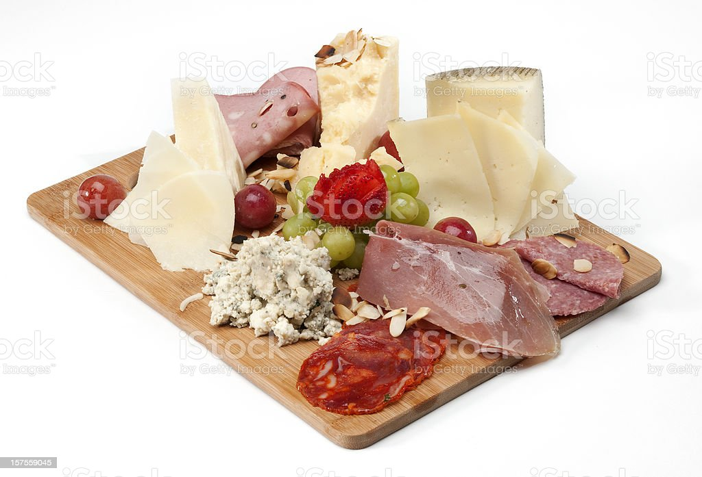 Mix of Cheeses and Cold Cuts stock photo