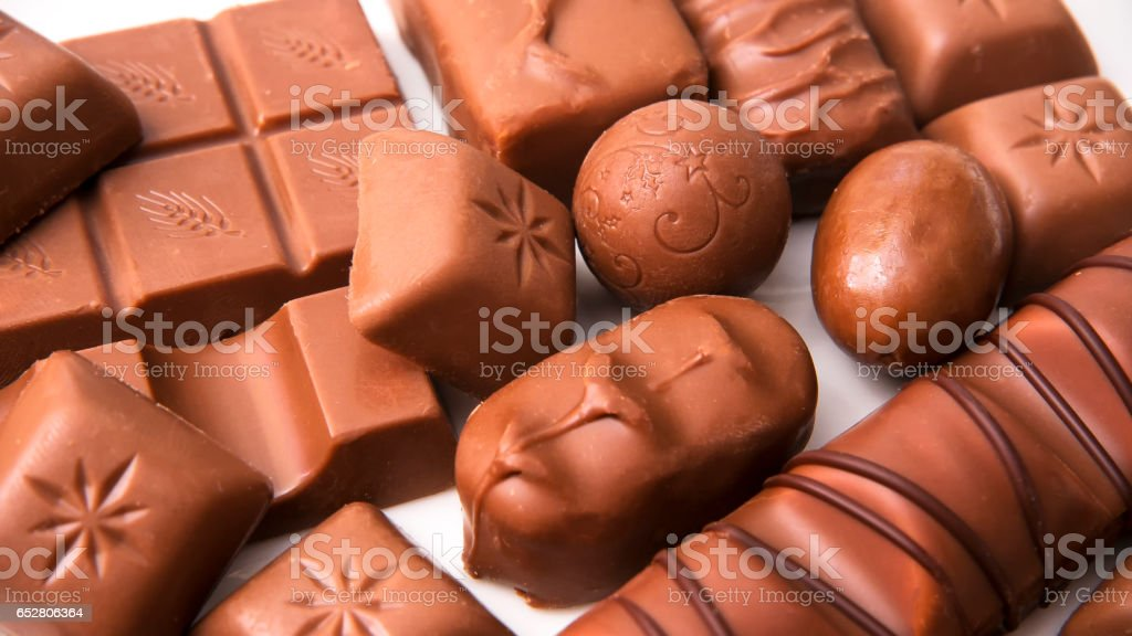Mix of chocolate on table, close-up stock photo