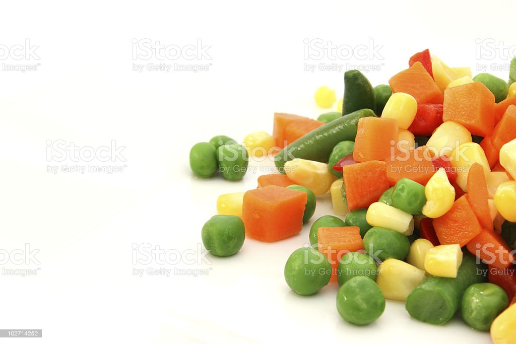 Mix of cooked vegetable on plate royalty-free stock photo