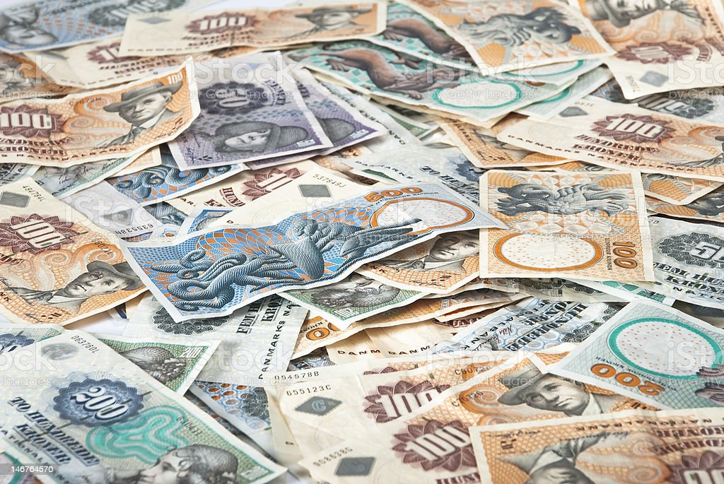 Mix of danish banknotes stock photo