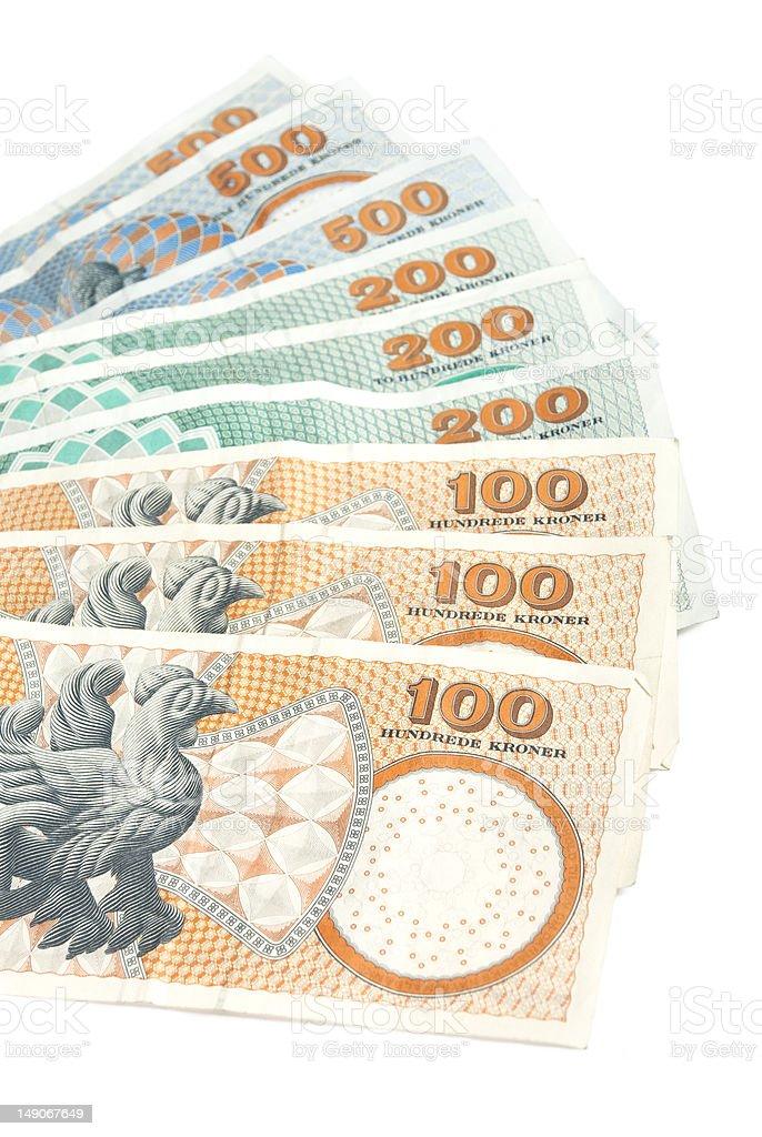 Mix of danish banknotes royalty-free stock photo