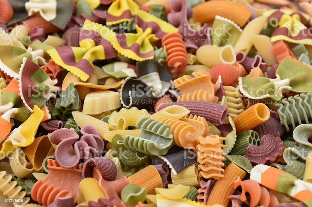 Mix of diferent kinds of dried pasta stock photo